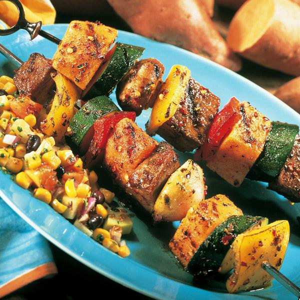Island style vegetable beef kabobs