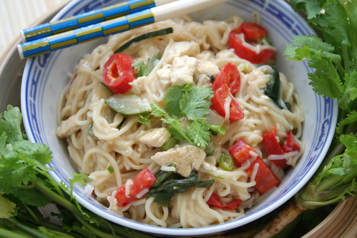 DinnerTime | Hot-and-Sour Peanutty Noodles with Bok Choy